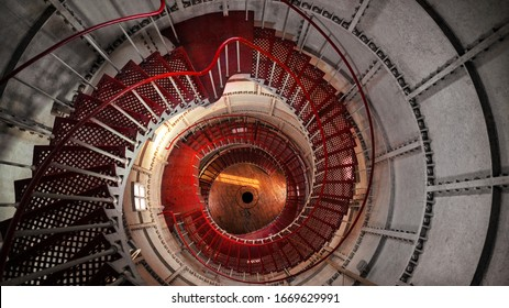 swirling Staircase inside the lighthouse white red from the top down