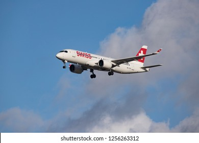 Swiss Airbus A220-300 ex Bombardier CS300 / BD500 with registration HB-JCQ landing at Heathrow International Airport. London, England, UK - November 30, 2018