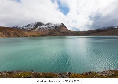 Swiss alpine landscape, mountain lake