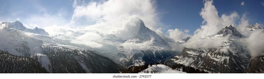 Swiss alpine panorama with the Matterhorn