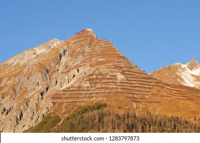 Swiss Alps: The avalanche protection on the peak of Parsenn/Weissfluhjoch mountain above Davos city in the upper Engadin in canton Graubünden.