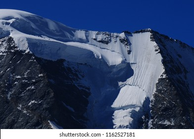 Swiss Alps: Due to the global climate change the glaciers and the permafrost are melting like here in the Bernina mountains in the upper Engadin