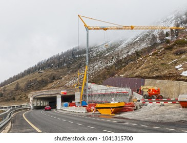 Swiss Alps - May 2017: road under construction in Bernese Alps