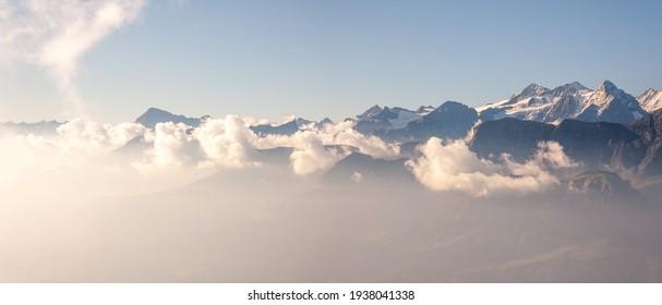Swiss Alps mountain range seen from Brienz Rothorn, Eiger, Jungfrau.