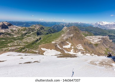 Swiss Alps mountain range from top of schilthorn, Murren, Switzerland