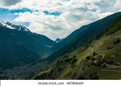 The Swiss Alps over the valley town of Martigny, Switzerland
