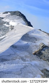Swiss alps: The Peak of Piz Corvatsch near St. Moritz and Silvaplana. Due to the global climate change the glaciers and permafrost are melting