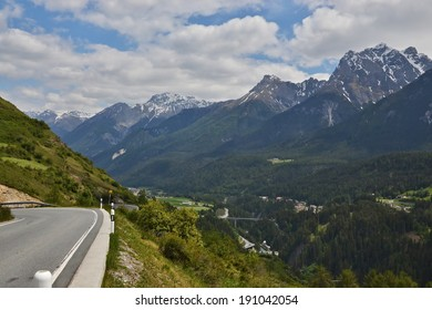 Swiss Alps-view on the Engadin from the road to Scuol