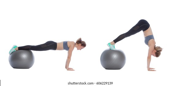 Swiss ball exercise execution with a professional trainer.