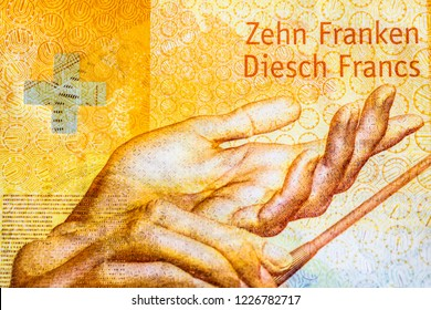Swiss banknotes 10 francs - a collection of old and new ten franc notes. Cash. macro closeup