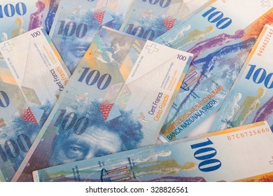Swiss banknotes of 100 CHF bills