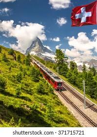 Swiss beauty, rack railway under Matterhorn,Zermatt,Valais,Switzerland,Europe