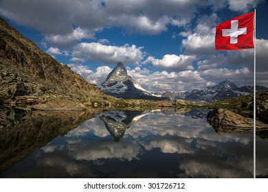 Swiss beauty, Riffelsee lake with Matterhorn mount reflexion
