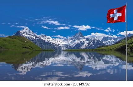 Swiss beauty, Schreckhorn with Wetterhorn  from Bachalpsee lake level