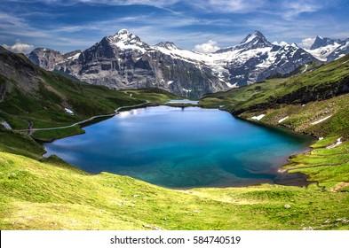 Swiss beauty, Schreckhorn and Wetterhorn  from Bachalpsee lake,Bernese Oberland,Switzerland,Europe