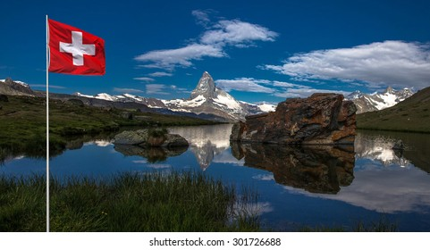 Swiss beauty, Stellisee lake with Matterhorn reflexion in it