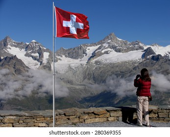 Swiss beauty, view to Obergabelhorn and Zinalrothorn from Gornergrad, soft focus