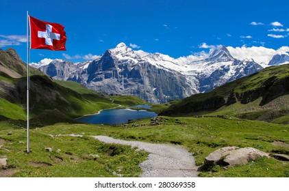 Swiss beauty, Wetterhorn and Schreckhorn from Bachalpsee, soft focus