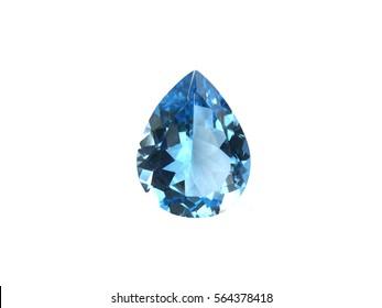 Swiss blue topaz isolated on white,beautiful background