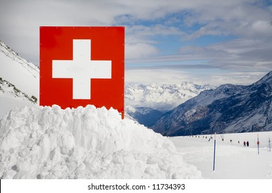 Swiss border in European Alps