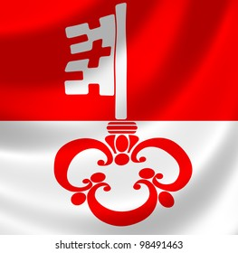 Swiss Canton of Obwalden flag waving in the wind detail