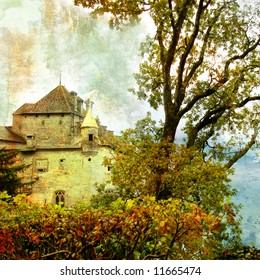swiss castle - picture in painting style