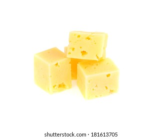 Swiss cheese isolated on white background