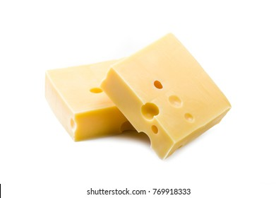 Swiss cheese slices close up on the white