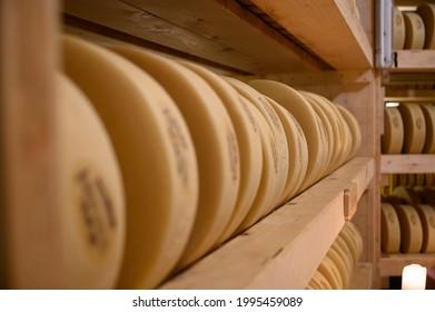 swiss cheese storage in Gstaadt - Shutterstock ID 1995459089