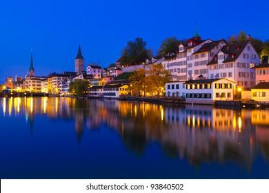 Swiss city Zurich shortly before dawn