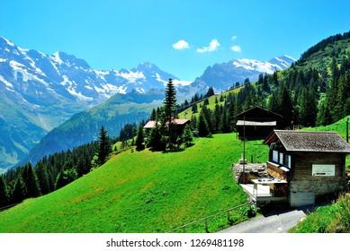 Swiss cottages in Murren, Switzerland