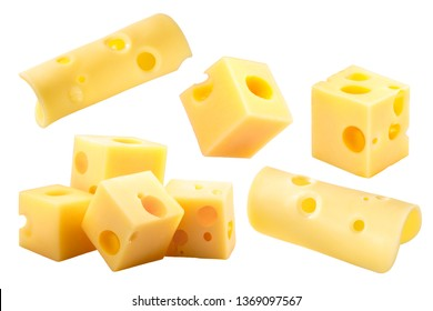 Swiss or Dutch holey cheese cubes and slices isolated on white