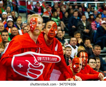 Swiss  fans  during 2014 IIHF World Ice Hockey Championship match at Minsk Arena on May  2014 in Minsk, Belarus.