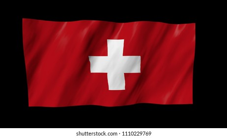 The Swiss flag flag in 3d, waving in the wind, on black background.