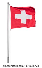 Swiss flag flying on a metal pole, isolated on a white background