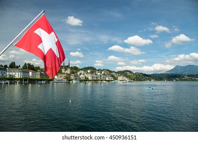 Swiss Flag and Lucerne, Switzerland