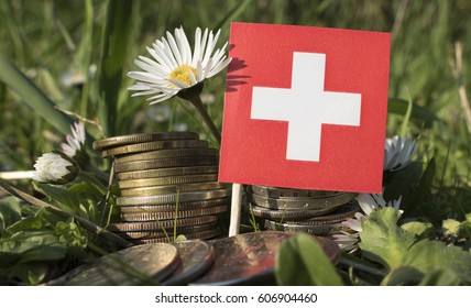 Swiss flag with stack of money coins with grass and flowers