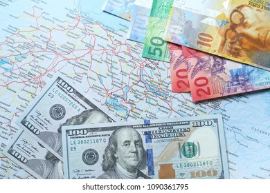 Swiss franc currency with US dollar currency