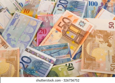 Swiss francs and Euro banknotes variety