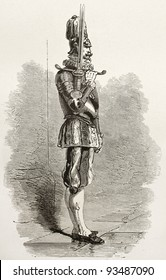 Swiss guard in Vatican city holding two-handed sword. Created by Neuville, published on Le Tour du Monde, Paris, 1867