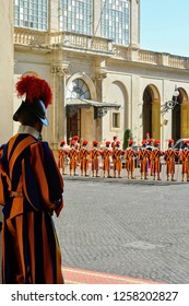 Swiss guards in formation in the Vatican