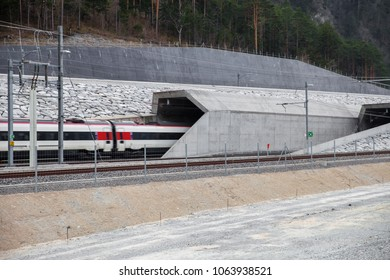 A swiss high speed train entering the new Gotthard base tunnel in Erstfeld