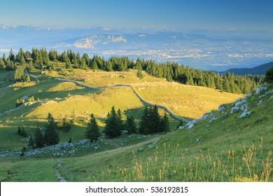 Swiss Jura  mountains summit with Geneva in the background - Western Switzerland