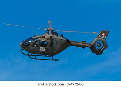 The Swiss military police uses this T-360 Swiss Air Force Eurocopter EC635 P2 CN 0722 for its operations. This picture was taken at the AIR14 show in Payerne, Switzerland on the 30th of August 2014.