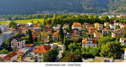 Swiss mountains and Bellinzona