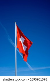 Swiss national flag at , Fronalpstock, Stoos, Switzerland.