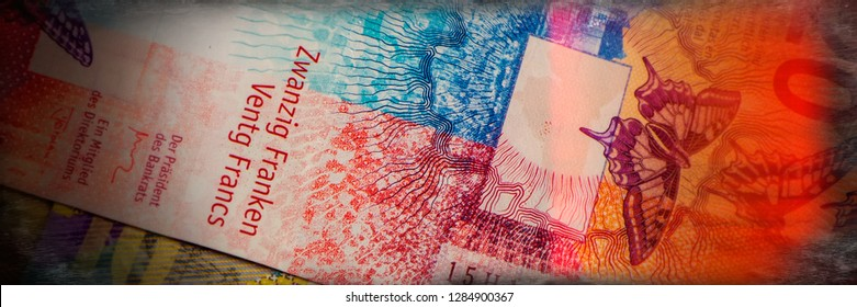 Swiss new banknotes. National currency. Europe. Web banner.