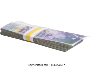 Swiss one thousand franc notes with Tape Isolated on White.