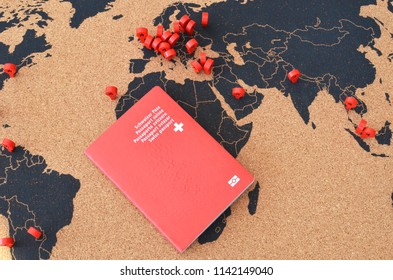 Swiss passport on the pinboard map