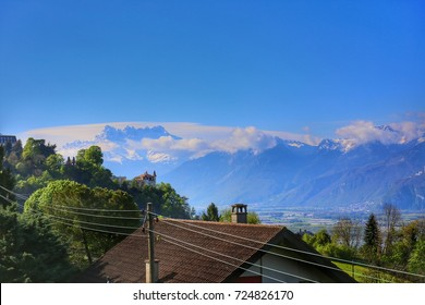 Swiss Riviera view along the Golden pass line train, Montreux Switzerland with Geneva lake and Alps mountain background